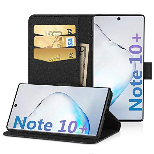 EasyAcc Hülle Case für Samsung Galaxy Note 10 Plus, PU Kunstleder Kartenhalter und Faltbare Tasche Handyhülle mit Standfunktion Brieftasche Handy Schutzhülle Kompatibel mit Samsung Note 10 + 6.8\'\'