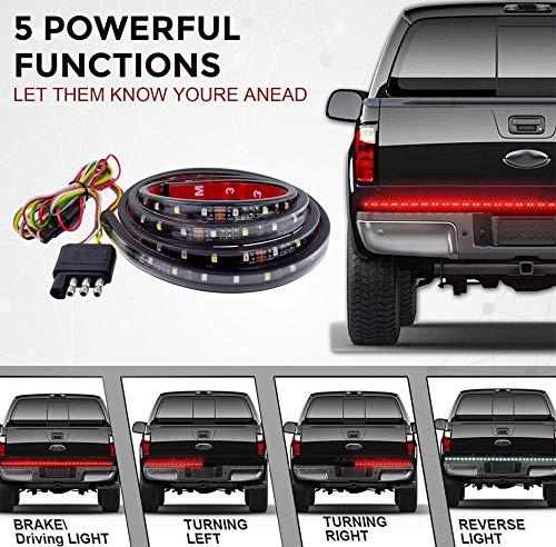 Barre lumineuse Maso pour hayon de camion, étanche, 152,4 cm, bande LED avec frein, clignotant, mode pour pickup, remorque, SUV, RV, van, voiture de remorque, véhicule de remorquage, rouge/blanc