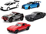 Jada Toys Challenge Time Fast & Furious 1:32 Chevy Corvette Bundled with + Dom's Dodge Challenger + Fate Brian's Nissan GT-R R35 Ben SOPRA + Letty's Rally Fighter + Subaru WRX STI 5-Items