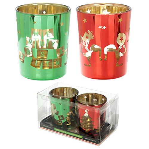 Glass Candleholder Set of 2 - Christmas Elf-XCAND41