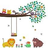 DECOWALL DW-1410 Gran Rama y Búhos Vinilo Pegatinas Decorativas Adhesiva Pared Dormitorio Salón Guardería Habitación Infantiles Niños Bebés