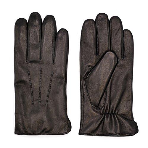 Harssidanzar Herren Italienischen Schaffell Lederhandschuhe (XXL, Schwarz (100% Kaschmir gefüttert, Aktualisierung))