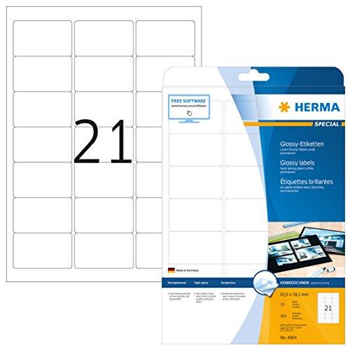 HERMA 4904 Hochglanz-Etiketten DIN A4 (63,5 x 38,1 mm, 25 Blatt, Papier, glänzend) selbstklebend, bedruckbar, permanent haftende Glossy Aufkleber, 525 Klebeetiketten, weiß