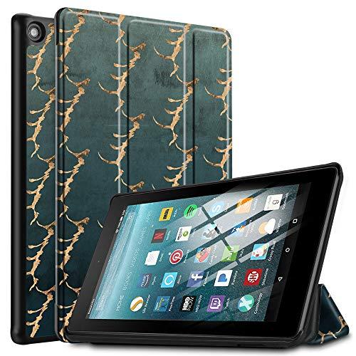 IVSO Custodia per Nuovo Tablet Fire 7 2019, Cover per Fire 7 2019, per Fire 7 2019 Custodia, Slim Smart Custodia Cover per Fire 7 Tablet (9ª Generazione – Modello 2019), CH-39