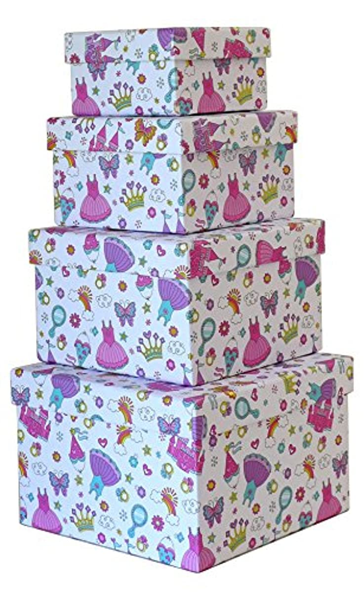 Cypress Lane Square Gift Boxes, a Nested Set of 4, 3.5x3.5x2 to 6x6x4 inches (Princess)