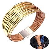 Jurxy Bracelet de cuir Femmes bohème Bijoux de manchette Ceinture large en métal pour femme fille - Or