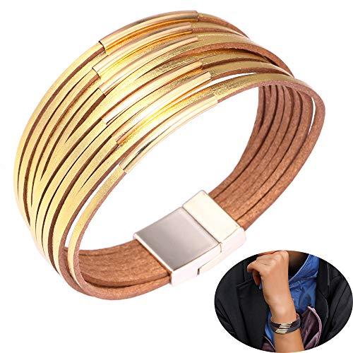 Jurxy Wickelarmband Armschmuck Vintage Charm Armband Leder Multilayer Leder Armreif Armkette - Gold