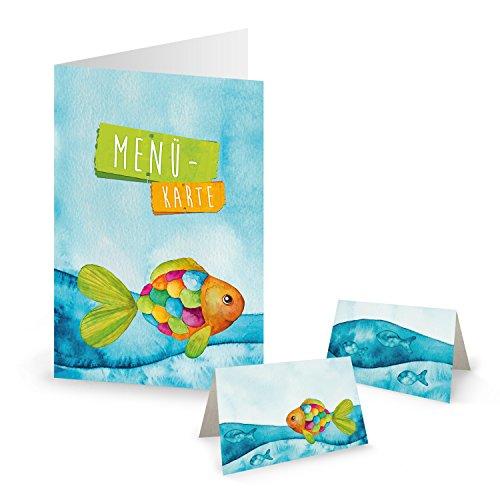 Logbuch-Verlag SET 10 Menükarten 25 Tischkarten Regenbogen Fisch maritim bunt blau Meer Kinder Geburtstag Taufe Kommunion Mädchen Jungen