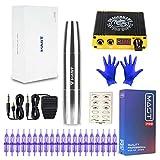 ZYC Juego de Ametralladora de Tatuaje de mástil Kit Motor Rotary Makeup Pen Power Needles Set de Maquillaje Permanente