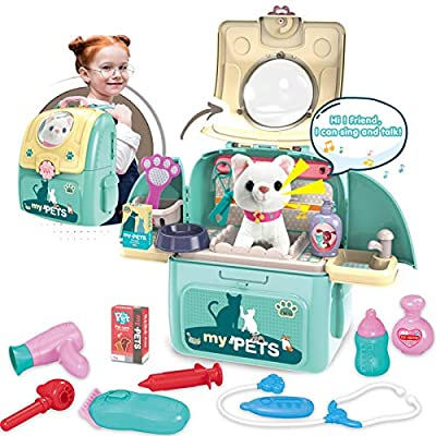Magic4U Pet Cat Carrier Backpack Toy, 23PCS Pet Care Playset,Vet Clinic and Doctor Kit for Kids, Pet Veterinarian Medical Role Play Set for Boys and Girls Ages 3-6 from XIONG CHENG PLASTIC TOY CO. LTD