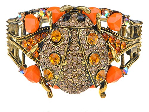 Alilang Womens antieke gouden toon topaas gekleurde steentjes oranje lieveheersbeestje insecten manchet armband