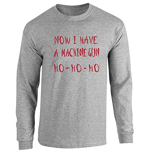 Now I Have a Machine Gun HO-HO-HO Christmas Xmas Sport Grey L Full Long Sleeve Tee T-Shirt