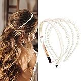 NAISIER 4 Pieces Pearls Headbands White Faux Pearl Rhinestones Headbands Bridal Hair Hoop Wedding Hair Fashion Hair Accessories for Women and Girls.