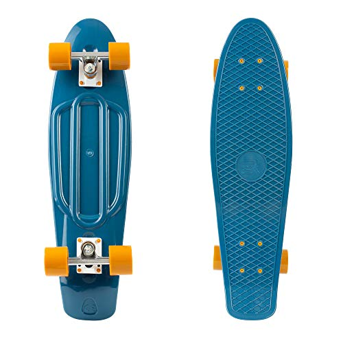 """Retrospec Quip Skateboard 27"""" Classic Retro Plastic Cruiser Complete Skateboard with ABEC 7 Bearings and PU Wheels, Navy & Camel (3338)"""