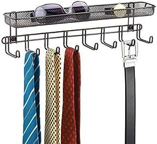 mDesign Perchero de pared con cesta organizadora color bronce - Colgador de collares y accesorios con 8 ganchos - Cuelga c...