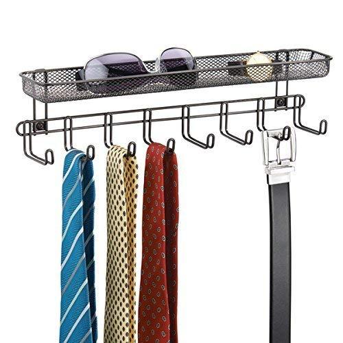 mDesign garderobelijst met plank voor wandmontage, 8 garderobehaken, ideaal als riem- of stropdashouder, bewaarmand voor portemonnee, sleutels enz. Einzel Bronskleuren
