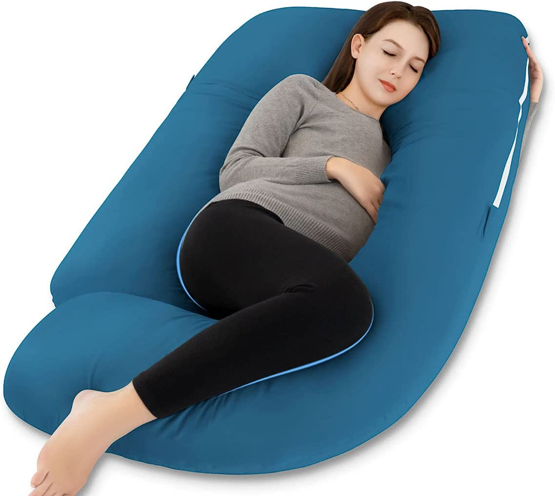 Marine Moon Pregnancy Pillow, Maternity Body Pillow for Sleeping with Cooling Body Pillow Cover, 55inch U Shaped Pregnancy Pillows for Pregnant Women, Blue Jersey