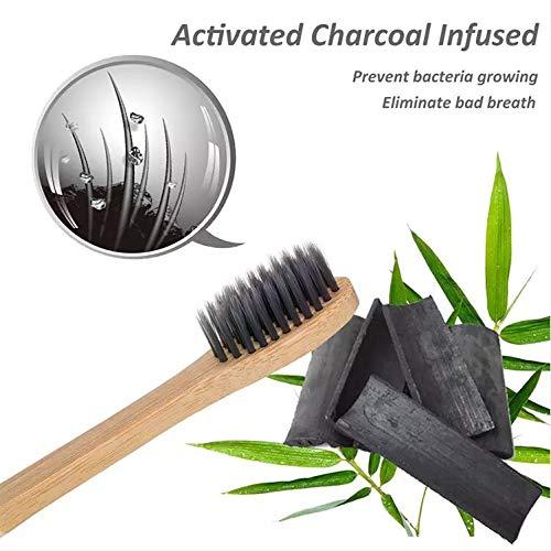 Cepillo de Dientes de Bambu con infusion de Carbon Activado de Cerdas Medias 100% biodegradable y ecologico (Cepillo 4 pack)