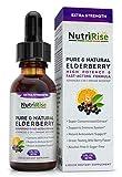Elderberry & Vitamin C 5X Extra-Strength Powerful Immune System Booster, Gluten-Free, Non-GMO, NO Sugar & NO Alcohol Syrup for Adults & Kids, Black Sambucus Sambucol Extract VIT C Immunity Support