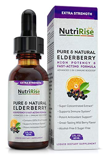 Elderberry & Vitamin C 5X Extra-Strength Powerful Immune System Booster, Gluten-Free, Non-GMO, NO Sugar & NO Alcohol Syrup for Adults & Kids, Black Sambucus Sambucol Extract VIT C Immunity Support
