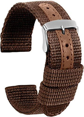 DXR Correa de reloj de lona de repuesto para reloj de pulsera militar militar hombres mujeres – 18 mm, 20 mm, 22 mm, 24 mm pulsera de reloj con hebilla de acero inoxidable, color marrón, 20 mm