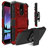 LG Fortune Case, LG Phoenix 3 Case, LG Risio 2 Case, Venoro Heavy Duty Armor Holster Defender Full Body Protective Hybrid Case Cover with Kickstand and Belt Swivel Clip for LG K4 2017 (Red/Black)