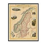 IUYTRF Vintage Karte Poster Schweden und Norwegen (1851)