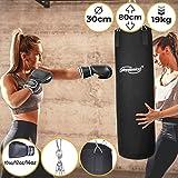 Physionics Boxsack Set - mit Boxhandschuhen, für Erwachsene, Gefüllt, Ø30cm, H80cm, Gewicht 19kg...