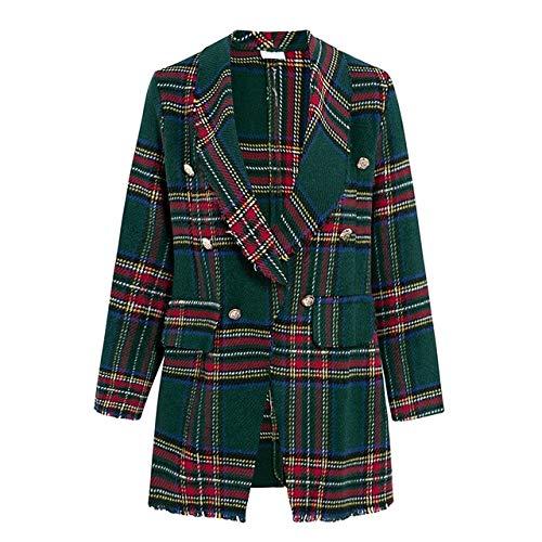WHBDFY Merk Vrouwen Mode Tweed Plaid Blazer Herfst Winter Vrouwelijke High Street Lange Mouwen Jassen Zakelijke Chic Jassen M Groen