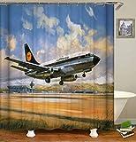 ZZZdz Flugzeuge Starten. Duschvorhang: 180 X 180 cm. Wasserdichter Stoffteppich Für Duschvorhang. Bad Duschvorhang Set Polyesterfaser Bad Duschvorhang.