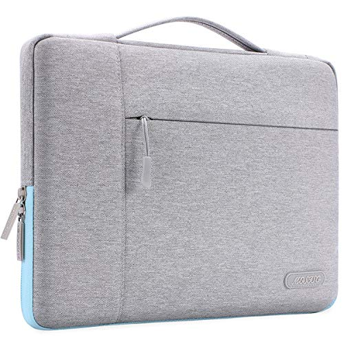 MOSISO Laptop Briefcase Compatible with MacBook Pro 16 inch, 15 15.4 15.6 inch Dell Lenovo HP Asus Acer Samsung Sony Chromebook, Polyester Multifunctional Sleeve Case Cover Bag, Gray & Hot Blue