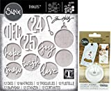 Tim Holtz Sizzix Holiday 2019 - Christmas Circle Words and Plastic Dimensional Domes - 2 Items