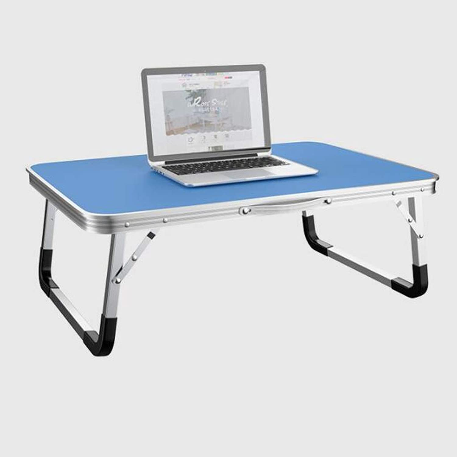 HBJP Folding Table On Bed - Lazy Computer Table - Student Simple Writing Desk - Small Dining Table, Large Desktop, 70  50cm Folding Table (color   bluee)