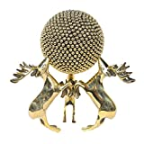 The Art Age Brass Showpiece Three Deer with Ball Center Table Decorative Item, Brass Collectibles Deer Statue for Home Decor and Vastu Figurine for Good Luck, Antique Decorative items for Living Room 20 x 20 x 21 CM (Gold)