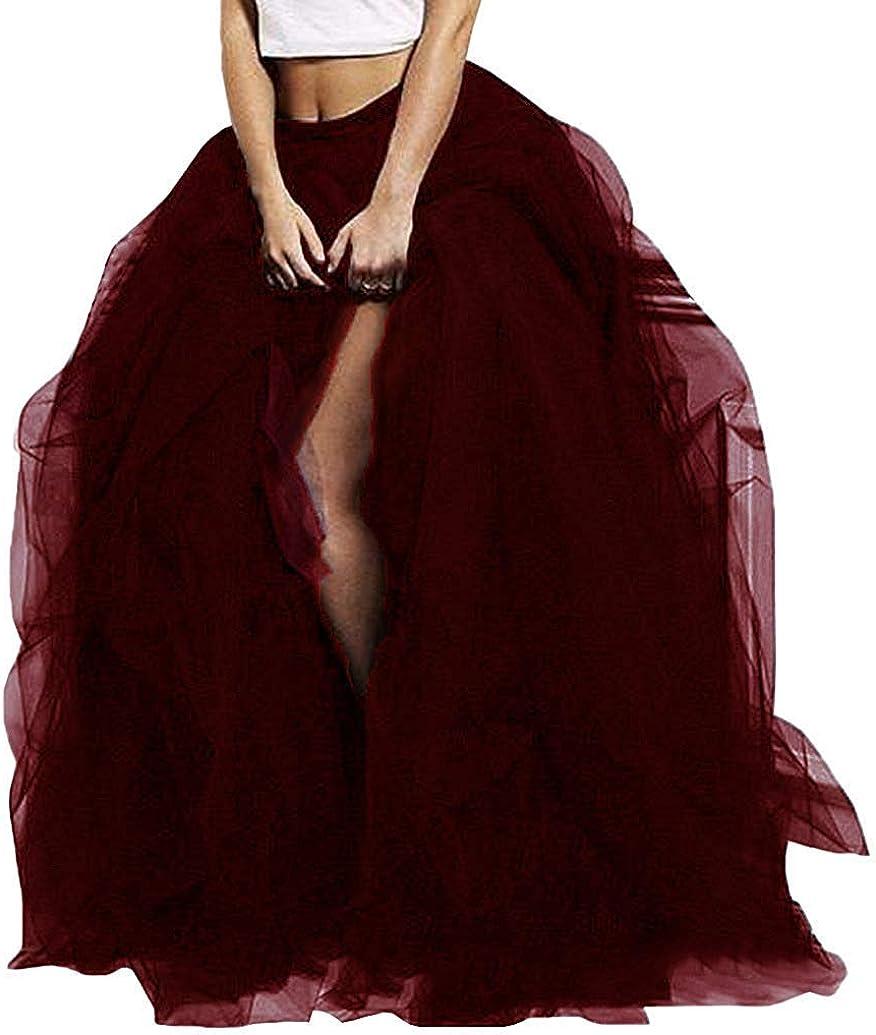 FANTASIEN Women's Long Maxi Tulle Special Occasion Bustle Night Out Skirt Layered Ruffled Floor Length Tutu Slit OverSkirt