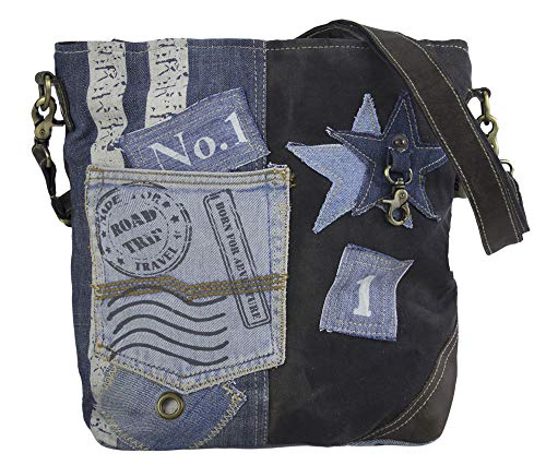 Sunsa Damen Tasche Umhängetasche Handtasche Canvas & Leder Bag mit Jeans Taschen Denim klein Schultertasche Damentaschen Vintage Crossbody Handtaschen Teenager Fashion Sale Lederhandtasche Stern