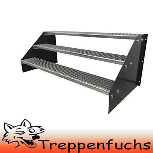 3 Stufen Standtreppe Stahltreppe freistehend Breite 100cm Höhe 63cm Anthrazitgrau / Robuste Außentreppe / Stabile Industrietreppe für den Außenbereich