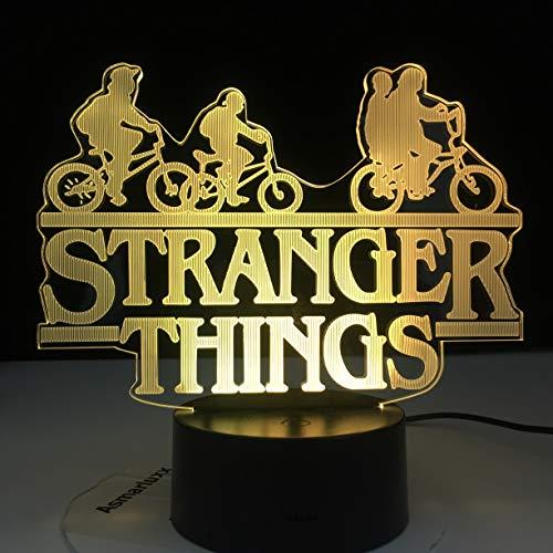Lampe d'illusion 3D Led Night Light Stranger Things Série de télévision américaine 7 couleurs changeant capteur tactile chambre lampe de table cadeau