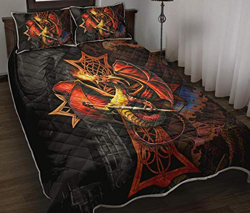Celtic Cross and Dragon with Sword Quilt Bed Set Bedding Set 3 Pieces Quilt Cover with Pillowcase Cover Soft Comfortable for Kids Parents US Twin Queen King Size