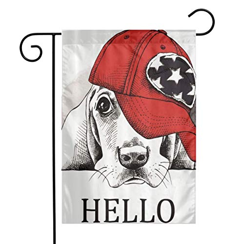zhang Flower Flag 12 X 18 Inches Decoration of Outdoor Houses and Gardens Sad Dog Hat