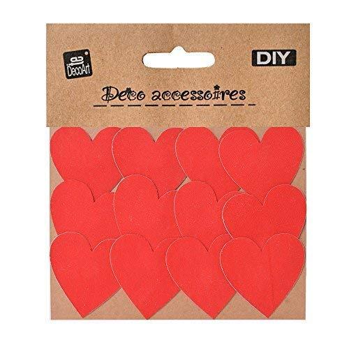 TE-DecoArt 12 Textil Patch Aufbügler Aufbügelflicken Applikation Herz rot zum Selber Flicken Stylen Dekorieren ca. 5 x 5 cm
