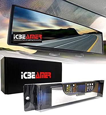 "ICBEAMER 10.6"" 270mm Easy Clip on Universal Fit Wide Angle Panoramic Auto Interior Rearview Mirror Flat Clear Surface"