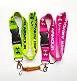2pcs Under Armour Lanyard Keychain Holder Neck Strap(Pink&Green) with Gold Bottle Opener Keychain