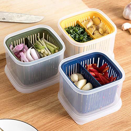 Contenedor Cocina Refrigerador Caja sellada Compartimento de estilo nórdico con tapa Drenaje Cebolla Jengibre Caja de almacenamiento de ajo Fresco
