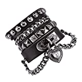 Bystar Bracelet of Punk Rock Rivet Wrap Retro Heart Chain Unisex Genuine Leather Multi Cir...