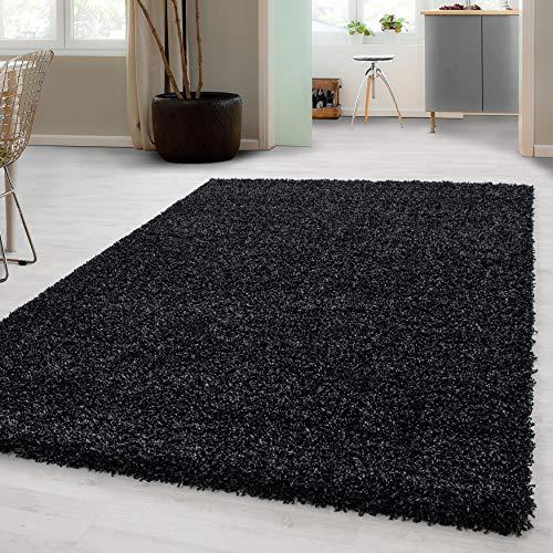 Hochflor Shaggy Teppich für Wohnzimmer Langflor Pflegeleicht Schadsstof geprüft 3 cm Florhöhe Oeko Tex Standarts Teppich, Maße:160x230 cm, Farbe:Anthrazit