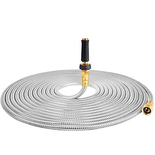 TOUCH-RICH 304 Stainless Steel Garden Hose, Lightweight Metal Hose with Free Nozzle, Guaranteed Flexible and Kink Free (50FT, Stainless)