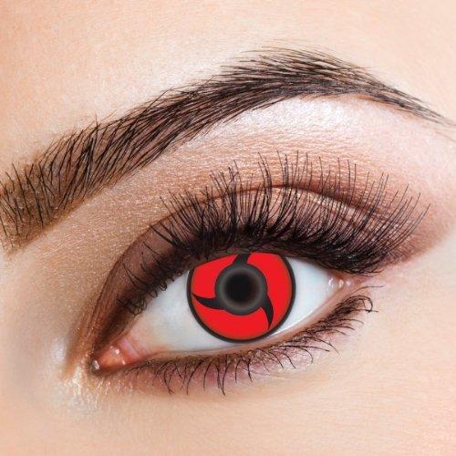 aricona Kontaktlinsen - Sharingan Kontaktlinsen Itachi Uchiha Mangekyou - Farbige Kontaktlinsen ohne Stärke für Cosplay, Karneval, Fasching, Motto-Partys und Halloween Kostüme, 2 Stück