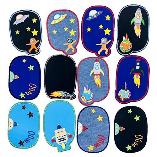 Bügeln Sie auf Flecken Raum Astronaut gestickte Abzeichen Planet Applique Nähen auf Flecken DIY für Jeansjacken, Kleidung, Handtasche, Schuhe, Mützen für Kinder Erwachsene