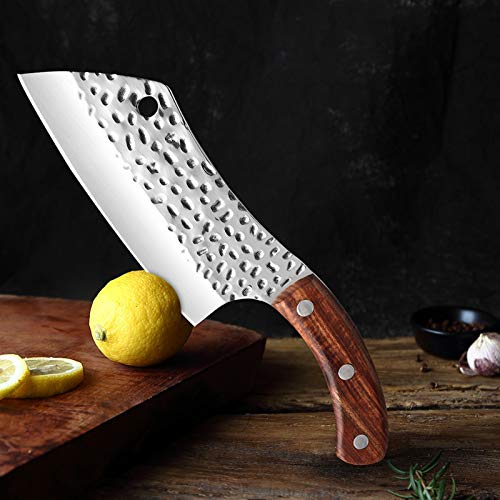 Mano forjado Carne Cuchillo alto contenido de carbono de acero inoxidable cuchillo de cocina agudo de carnicero cuchillo de cocina de la manija del palo de rosa de cocción Herramientas Cuchillo multif